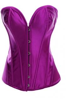 Intimate Victorian Purple Satin Corset With Steel Bones, Sweetheart Neckline, Front Busk