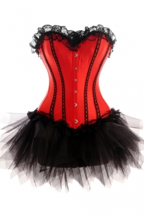 Red Corset Dress With Black Vertical Strip Detail and Tutu Net Mini Skirt