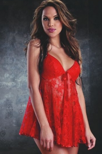 Alluring Red Sheer Lace Body Flow Intimate Apparel Dark Cup Halter Open Mini Plunge Top