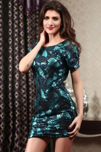 Blue Scallop Print Mini Club With Short Sleeves, Plunging Back, and Sequins