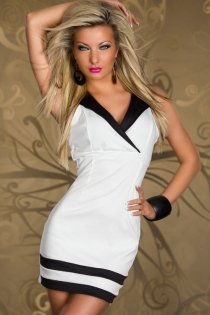 White Mini Dress With Surplice Bust, Black Notched Collar and Striped Hem
