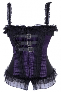 Sexy Bondage-Style Black and Purple Corset With Lace Detailing and Buckled Chest