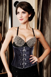 Punk Fantasy in Black With Gold Studded Plunging Bra Top, Light Boning and Belted Closure Straps