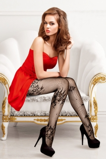 Provocative Black Fish Net Stockings With Flower Motif Design