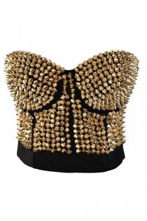 Corset With Bronze Spiked Design in Front. Uses Back Hook and Eye Closure