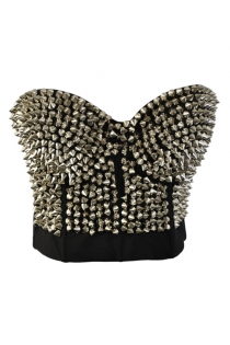 Corset With Silver Spiked Design in Front With Back Hook and Eye Closure