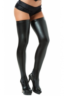 Bold & Beautiful Black Lame Thigh High Stockings With Closed Toes