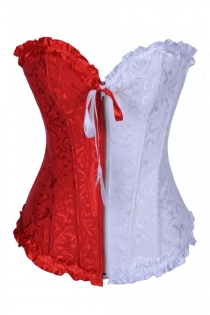 Enchanting Cute White & Red Overbust Boned Corset Top with Half Zip Up