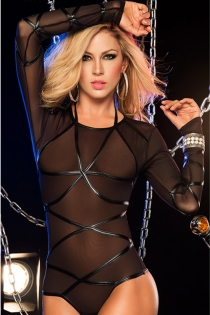 Queen Diva Lingerie Long Sleeve Sheer Teddy with Sexy PVC Crossover Detail