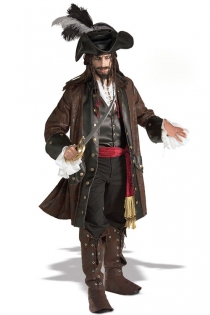 Classy Pirate Costume with Coat and Leather Embellished Hats, Shirt, Sash, Boot Tops