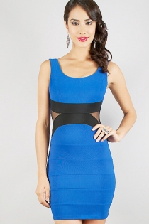 Gorgeous Figure-hugging Blue Club Dress with Back Zipper