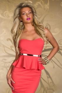 Simply Elegant Watermelon Tube Club Dress with Matching Belt
