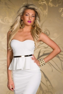 Simply Elegant White Tube Club Dress with Matching Belt