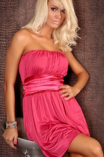 Voluptuous Hot Pink Strapless Mini Dress With Ruched Bust and Satin Waist Sash
