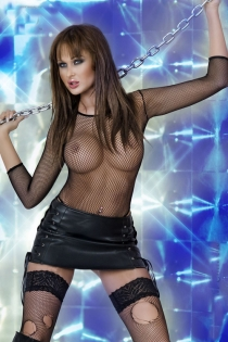 Playful Faux Leather Matching Pleated Mini Skirt Without Bodystockings