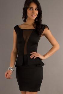 Royal Black Club Dress with Ruffled Embellishment & Transparent Panel