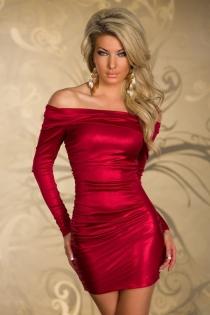 Elegant Rose Red Off Shoulder Club Dress