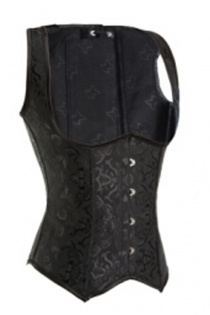 Stunning Brocade Underbust Corset with Straps, Front Busk & Back Lace Up Details