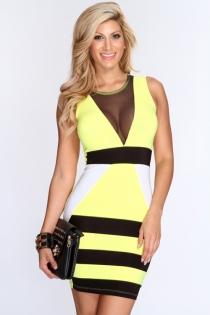 Gorgeous Yellow Mini Dress with Deep V Mesh Neckline