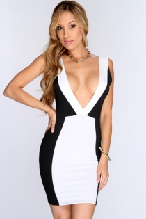 Tempting Pink and White Club Dress with Sleeveless Design