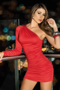 Sexy Hot Red Off-One-Shoulder Mini Club Dress