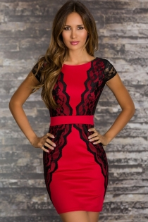 Elegant Sheath Style Red Club Dress with Lacy Overlay