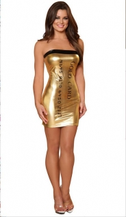Enchanting Gold Shining Mini Dress with Credit Card Print