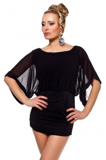 Seductively Fashionable Black Mini Club Dress with Wide Sleeves