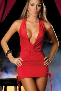 Seductive Hot Red Low Cut Club Mini Dress with Side Ties and Ruffled Front Panel