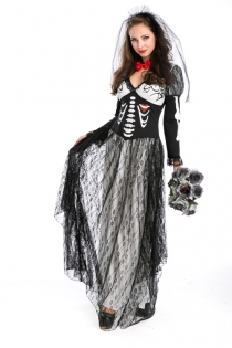 Sexy Queen of Darkness Costume Dress with Printed Bones and Lace Overlay