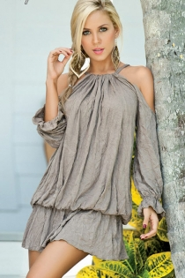 Pretty and Puffy Grey Mini Dress with Cutout Shoulder Details