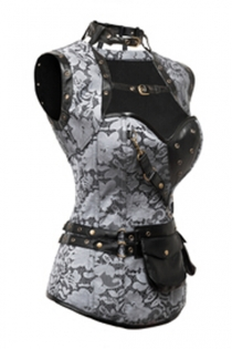 Atomic Lace Steampunk High Neck Corset with Back Lace-up and Jacket