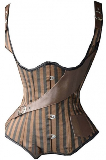 Wondrous Steampunk Underbust Corset with One Side Leatherette Pocket