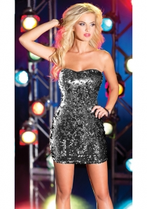 Strapless Sweetheart Glitzy Sequin Embellished Club Dress With Shiny Satin Back