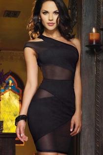 Gorgeous Black Mesh Mini Club Dress