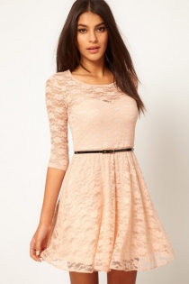 Sexy Peach Colored Mini Dress with 3/4 Sleeves and  Lace Overlay