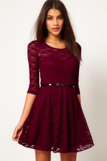 Sexy Mini Dress Mini Dress with Lace Overlay and Matching Belt