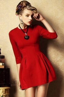 Classic Hot Red High Waist Mini Dress with Round Neckline and Half Sleeves