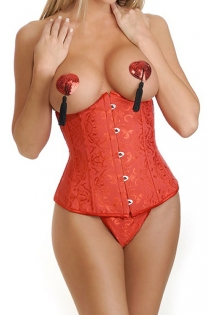 Sexy Red Jacquard Underbust Corset With G-strings