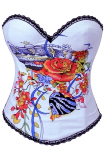 Enchanting White Boned Corset with Floral Print and Hook-Eye Closure