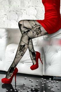 Enchanting Black Sheer Lace Pantyhose with Rose Pattern