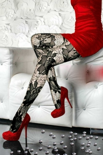 Lovely Lace Pantyhose In Black with Sheer Large Floral Patterns