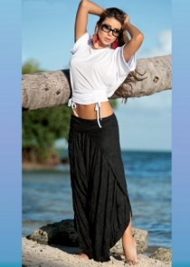 Sexy Swimsuit Cover Ups White and Black Flowing Two Piece Set