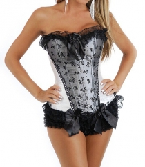 Sexy Ivory Boned Corset with Ruffled Trim, Bow Details
