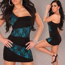 One Shoulder Black And Blue Evening Dress,2270-3