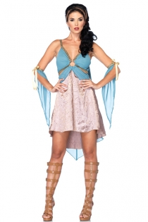 Beautiful Brocade and Chiffon Costume With Cape and Ribbon Accents