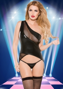 Have Fun Faux Leather One Shoulder Teddy with Fishnet Bust and Bottom Trim