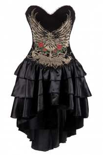 Black Flower and Wings Printing Corset Dress With Layered Irregular Bottom Design