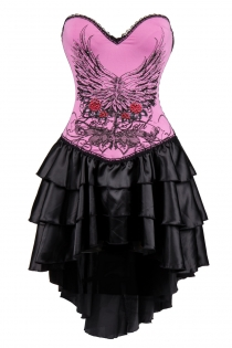 Pink Flower and Wings Print Corset Dress With Layered Irregular Bottom Design