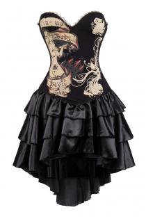 Black Devil Soul Printal Corset Dress With Layered Irregular Bottom Design